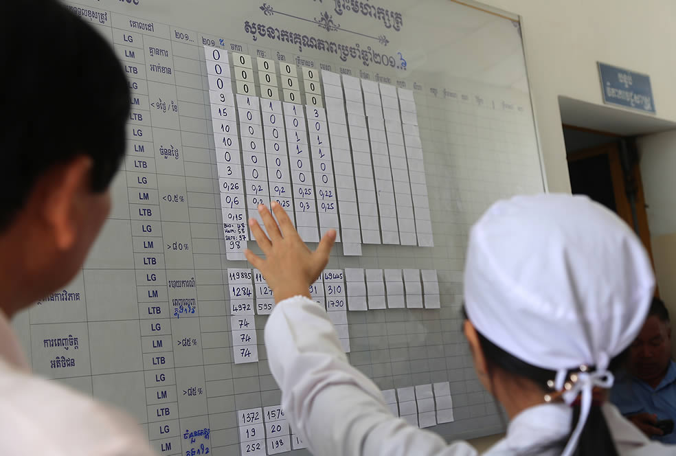 woman pointing to a board recording numbers at Cambodia clinic
