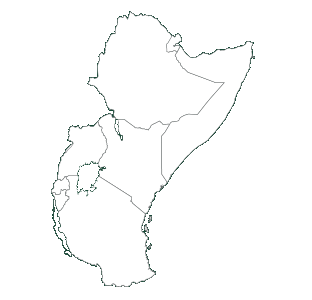 map with Kenya & East Africa                                                                                  highlighted