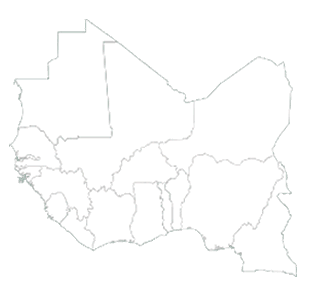 map with West Africa highlighted