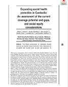 Expanding Social Health Protection in Cambodia: An Assessment of the Current Coverage Potential and Gaps, and Social Equity Considerations