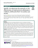 Specific Considerations for Research on the Effectiveness of Multisectoral Collaboration: Methods and Lessons from 12 Country Case Studies